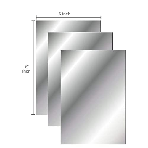 BBTO 10 Pieces Mirror Sheets Self Adhesive Non Glass Mirror Tiles Wall Sticky Mirror 9 by 6 Inches