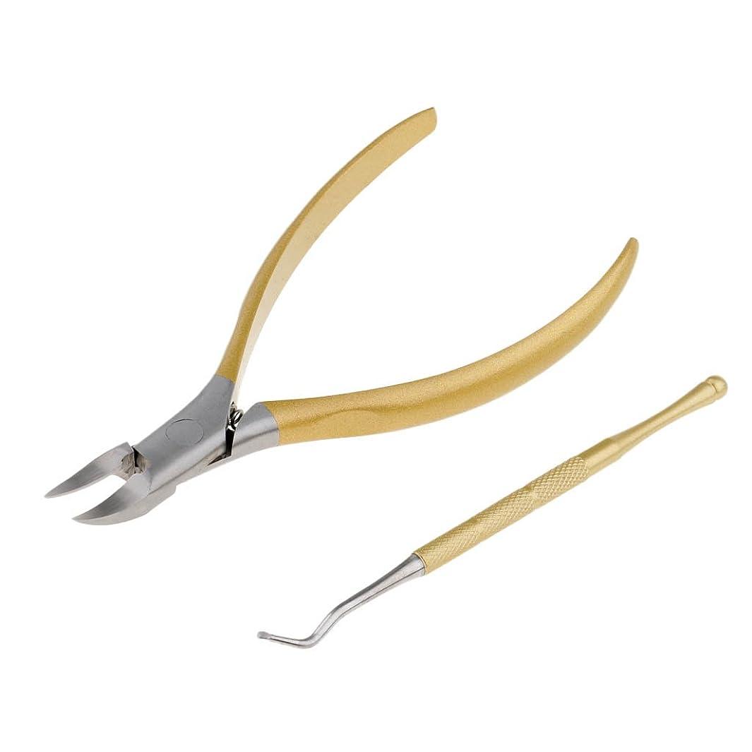 柔らかさ差し控えるサークルPerfk 2点入り カッター クリッパー ネイルケア 爪やすり ステンレス クリッパー 内生/厚い/硬いつま先 切断 高品質 4色選べる - ゴールデン