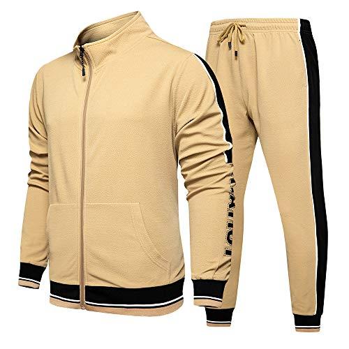 Men Tracksuit Set Full Zip Sweatshirt Jogger Sweatpants Warm Sports Suit Gym Training Wear Khaki-XL