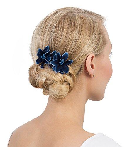 SIX Haarschmuck, 2er Set Blumen Haarspangen, dunkelblaue Orchidee Textil Blumen (488-071)
