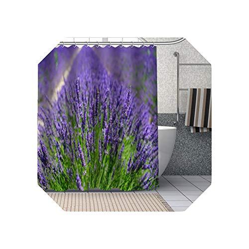 Cool-House Duschvorhang Liner  Lila Lavendel Blumen Duschvorhänge DIY Badezimmer Vorhang Stoff Waschbares Polyester Für Badewanne Art Decor-16-180x180cm