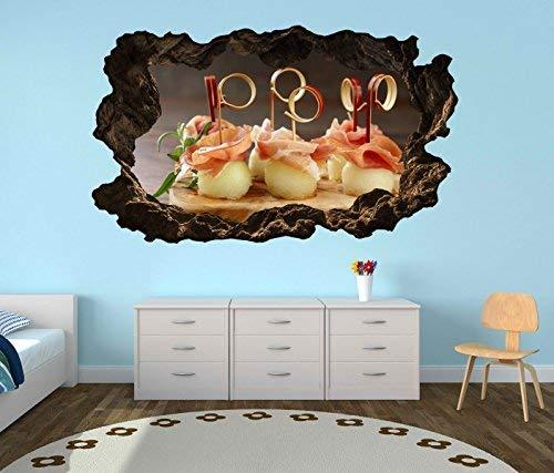 3D Wandtattoo Durchbruch Mediterran Melone Honigmelone schinken Essen Küche Wand Aufkleber Wanddurchbruch sticker selbstklebend Wandbild Wandsticker Wohnzimmer 11O2254, Wandbild Größe F:ca. 140cmx82cm