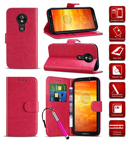 Wallet Phone Case for Motorola Moto E (2nd Gen 2015) PU Leather Cover with Card Holder Slots [Kickstand Stand Case] Folio Case for Moto E (2nd Gen 2015) 4G XT1521/ XT1524 / XT1527 [Hot Pink]