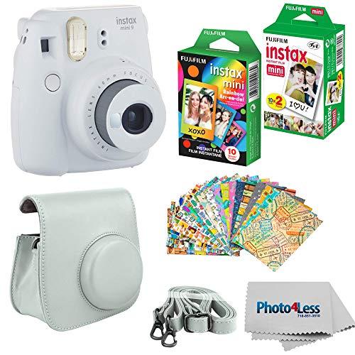 Fujifilm Instax Mini 9 Instant Film Camera (Smokey White) - Fujifilm Instax Mini Instant Film, Twin Pack - Fujifilm Instax Mini Rainbow Film - Case for Fuji Mini Camera – Fuji Instax Accessory Kit