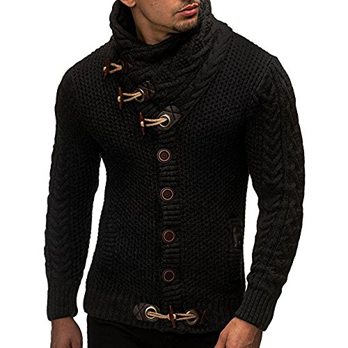Usstore 👕 Men Autumn Winter Casual Cardigan Sweater Long Sleeve Coat Knitting Buckle Keep Warm Sweater Coats (Black, XL)