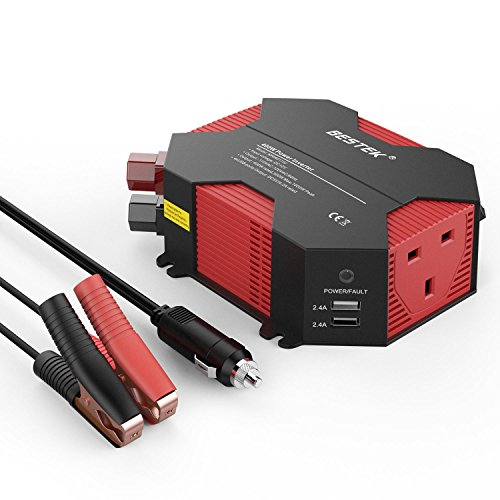 BESTEK 400W Power Inverter Car Charger DC 12V to AC 230V 240V Converter with UK Outlet Socket and 4 USB Ports Auto Adapter Power Supply