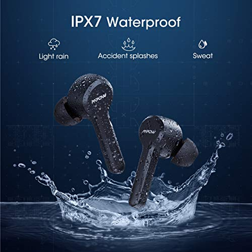 MPOW M9 True Wireless Earbuds w/ 200 Hours Standby and Bass, IPX7 Waterproof Bluetooth 5.0 Touch Key Headphones Charging Case, Wireless Earphones 30 Hours Playtime, in-Ear Mini Headset w/Microphones 7