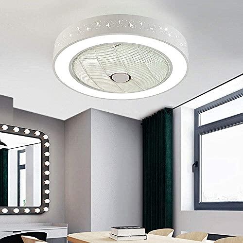 Beeki Ventilador de techo con luz y control remoto 110 V ventilador de techo luz LED STARRY SKY Luz de luz Redondo Luz de control remoto regulable hueco acrílico luz humano cuerpo dormitorio niños cre