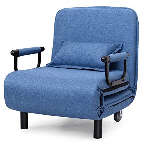 DREAMADE Klappsofa mit Schlaffunktion, Klappsessel inkl. Kopfkissen, Klappbares Schlafsessel Sofabett mit Höhenverstellbarer Rückenlehne, Gästebett Bettsessel 150KG Belastbar (Blau)