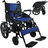 Portable Electric Wheelchair for Adults, Foldable Dual Motorized Power Wheelchairs, All Terrain Folding Wheel Chair, Comfortable Lightweight Travel Wheelchair (Blue)