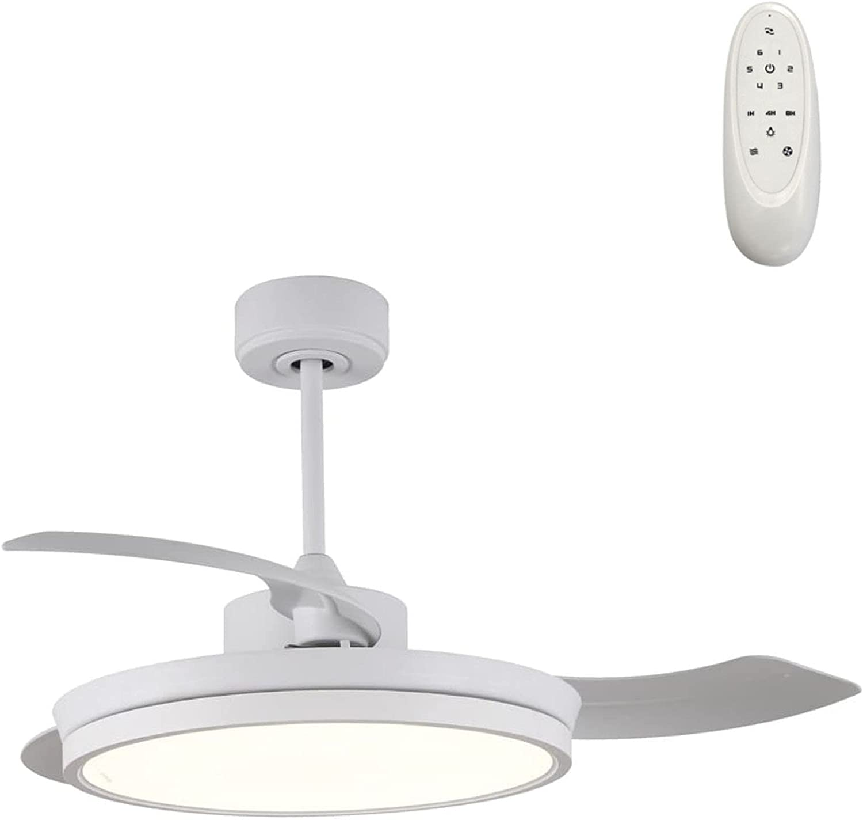 Wonderlamp - Ventilador techo de Luz LED con aspas plegables Brando 48W, Silencioso, 3 temperaturas color, 6 velocidades, Blanco