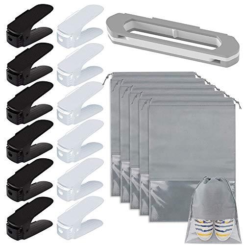 PUDSIRN Paquete de 13 organizadores de ranuras para zapatos con 5 bolsas de viaje para almacenamiento de zapatos, Zapatero de plástico ajustable para ahorrar espacio en el armario