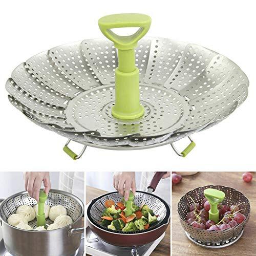 ConPush Edelstahl Dampfgarer Einstellbar Dünsteinsatz und Zusammenklappbares Design für Kochtöpfe und Verschiedenes Kochen