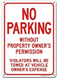 Warning Sign No Parking, Unauthorized Vehicles Will Be Towed, Made Out of .040 Rust-Free Aluminum, Indoor/Outdoor Use, UV Protected and Fade-Resistant, 10' x 14', by My Sign Center