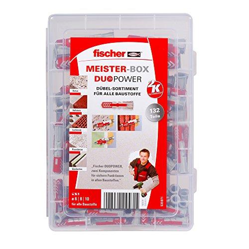 fischer MEISTER-BOX DUOPOWER, Dübelbox mit 132 Dübeln (60 Stk. 6 x 30, 60 Stk. 8 x 40, 12 Stk. 10 x 50), Universaldübel, praktisches Set, Dübelkiste für Heimwerker & Profis, ohne Schrauben