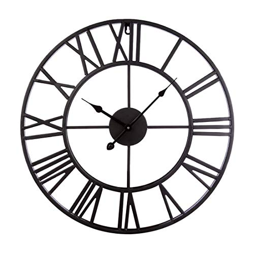 Vintage Retro 20-inch Dia Large Iron Metal Indoor Wall Clock