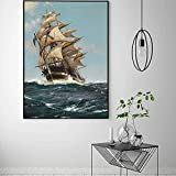 Barco de vela Lienzo de arte Decoración de paisaje marino Barco de vela A la deriva en el mar Póster Artístico de pared Habitación Sala de estar Decoración Imagen / 50x70cm Sin marco