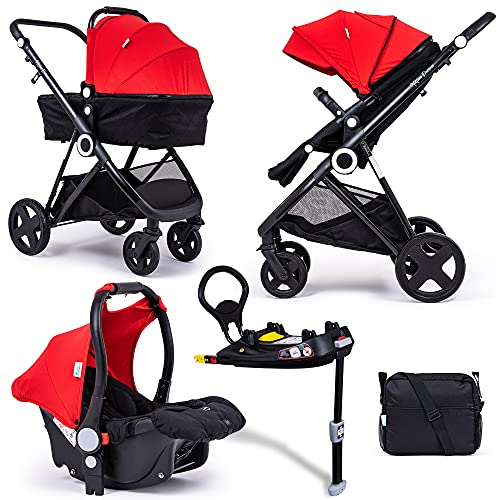 For Your Little One Million Dreams 3 in 1 Travel System with Isofix Base - Red inc Pushchair, Newborn Car Seat, Separate Carrycot, Changing Bag with Mat, Raincover and Apron