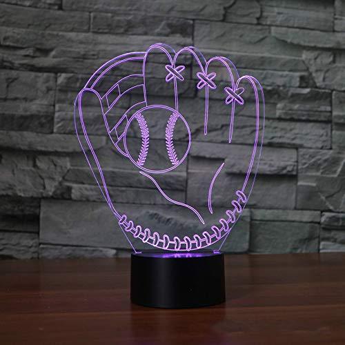 3D Led Guantes De Béisbol Lámpara De Mesa Con Control Táctil 7 Colores Lámpara De Escritorio Con Lámpara Cambiante Novedad Luces Nocturnas Luz De La Estrella De La Muerte Luces Nocturnas