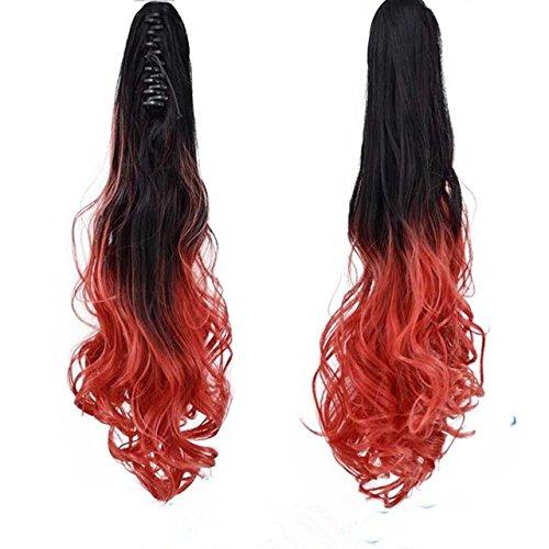 55,9 cm Long ondulé Griffe dans/sur Queue de cheval Couleur Ombre deux tons Clip en Extensions de cheveux Bicolore dégradé (1B/Red)