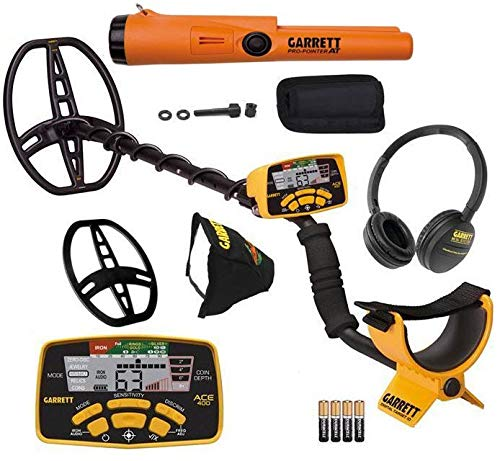 Garrett ACE 400 Metal Detector with DD Waterproof Search Coil and...