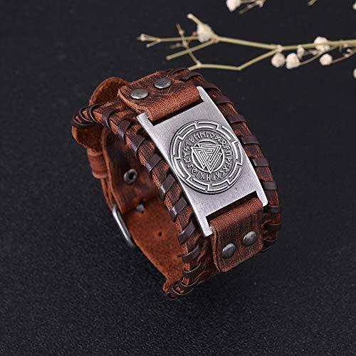 VASSAGO Vintage Amuleto nórdico 24 runas vikingas símbolo de Odín Valknut brazalete de cuero marrón para hombres mujeres (cuero marrón, plata antigua)