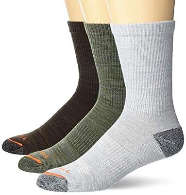 Merrell mens Cushioned Hiker Crew 3 Pair Casual Sock, Dark Brown, Dark Grey/Light Grey, Olive Green, Medium-Large US
