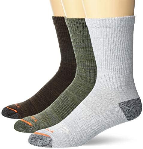 Merrell mens Cushioned Hiker Crew 3 Pair Casual Sock Dark Brown Dark Grey Light Grey Olive Green product image