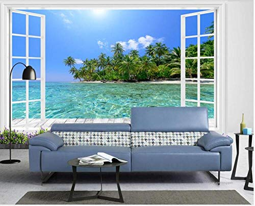 Tapete 3D-Dekoration Wandbilder Foto Wandtapete Raumhohe Fenster Insel Meerblick 3D Hintergrund Wand-250Cmx175Cm