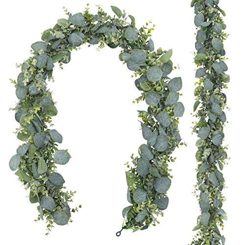 CEWOR 2 Pack 5.5ft Artificial Eucalyptus Garland Fake Greenery Hanging Plants Boxwood Vines for Wedding Home Party Wall Garden Decor