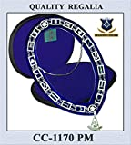 Masonic Silver Chain Collar + Past Master Jewel + Free Case (as a Gift)