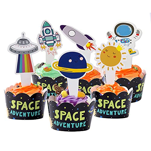 Outer Space Theme Party Decoration Astronaut Rocket Cake Topper Birthday Party Cupcake Flag Dessert Table Tag Cake Decoration