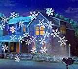 2 in 1 Chritams Projector Lights,Greenclick Outdoor Decoration Snowflake Projector Light with Rotating Snowflake Waterproof Garden Pary lamp Snow Lights for Chritmas Holiday