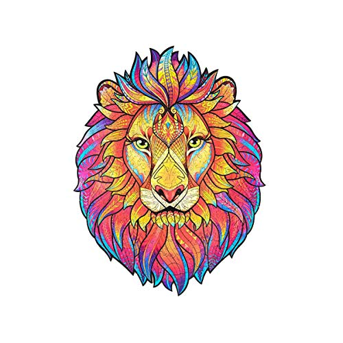 LODIIYAR Wooden Mysterious Lion Jigsaw Puzzles–Unique Shape Animal Jigsaw Pieces Wooden Puzzles, Best Gift for Adults and Kids A5 6×8.8 in