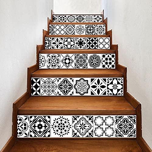 Etiqueta engomada del PVC Etiqueta engomada de la escalera de 6 piezas de la etiqueta engomada 3D, etiqueta engomada de la pared, decoración del hogar, imitación de la pared de la pared de cerám