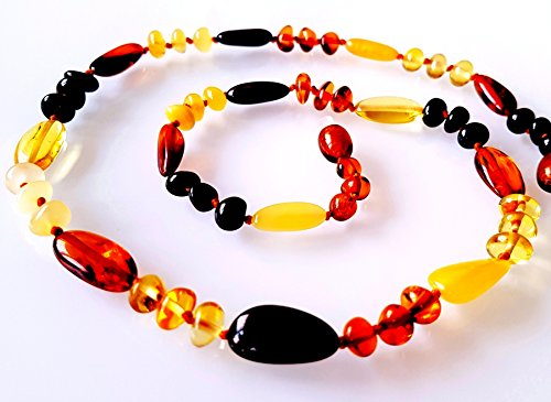 AMBERMILANA Genuine Baltic Amber Necklace Healing Amber Multi Colour Amber Necklace