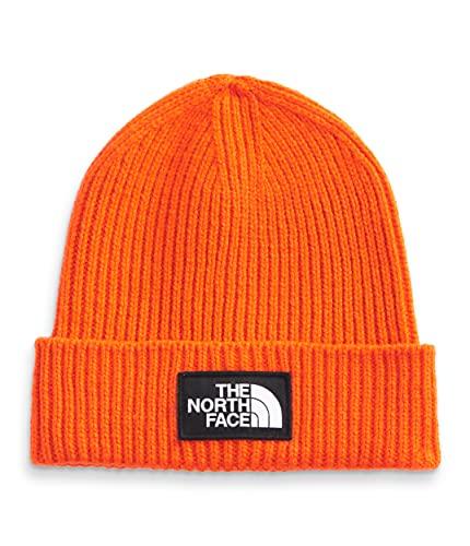 The North Face Logo Box Cuffed Mens Beanie, rojo naranja (Red Orange), talla única