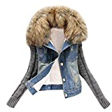 HGWXX7 Women's Casual Knit Sleeve Fur Collar Jeans Button With Pocket Jacket Coats Denim Tops(Blue,L)
