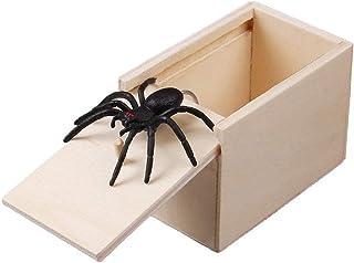Klinkamz 1 Pcs Wooden Prank Spider Scare Box Case Joke Lifelike Funny Surprise Gag Toy