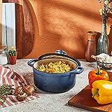 Artisanal Kitchen Supply 2 qt. Enameled Cast Iron Dutch Oven in Denim