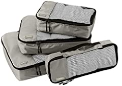 Double zipper pulls make opening/closing simple and fast Mesh top panel for easy identification of contents, and ventilation Soft mesh won't damage delicate fabrics Webbing handle for convenience when carried by itself Set includes 1 large (17.5 x 12...