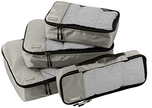 AmazonBasics 4 Piece Packing Travel Organizer Cubes Set, Grey