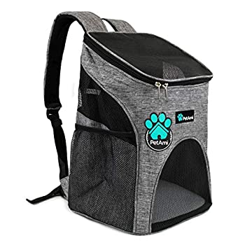 PetAmi Premium Pet Carrier Backpack for Small Cats and Dogs | Ventilated Design Safety Strap Buckle Support | Designed for Travel Hiking & Outdoor Use  Heather Gray