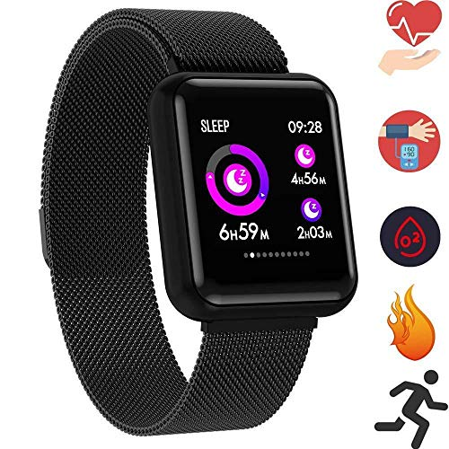 Fitness Armband mit Pulsmesser Wasserdicht IP67 Fitness Tracker Smartwatch Aktivitätstracker Pulsuhr Schrittzähler Uhr Sportuhr für Damen Herren Anruf SMS Beachten für iPhone Android Handy (Schwarz)