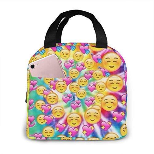 Bolsa de almuerzo aislada con estampado de rotación de alma gemela de corazón de emoticonos para mujeres capacidad, bolsa de almuerzo reutilizable