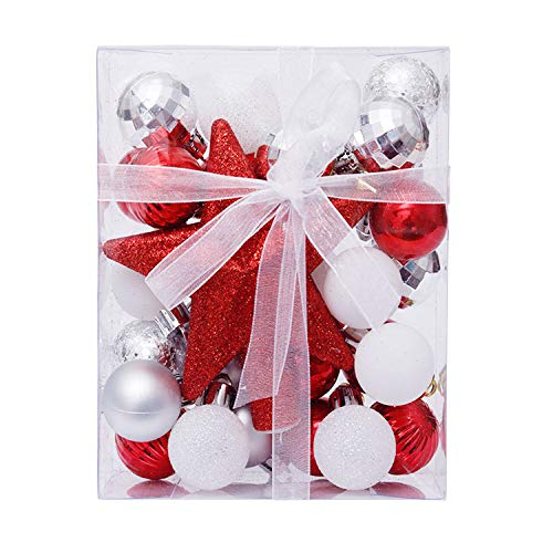 IRONA Christmas Tree Decorations Baubles Set 30 Pieces, 30mm x30mm, Mini Ornaments Decoration for Christmas Tree Decor, White and Red Shatterproof Christmas Ball, Christmas Tree Topper