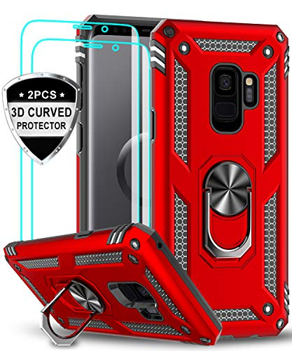 LeYi Samsung Galaxy S9 Case with 3D PET Screen Protector [2 Pack], [Military Grade] Magnetic Car Ring Holder Mount Kickstand Shock Absorption Defender Protective Phone Case for Samsung S9 JSFS Red