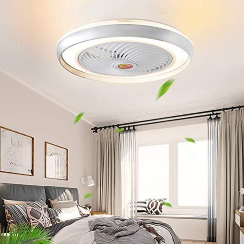 LED Deckenventilator Mit Beleuchtung Und Fernbedienung Leise 60W Deckenleuchte Dimmbare Modern Deckenlamp Schlafzimmer 50CM Unsichtbare Ventilator Kinderzimmer,Silber
