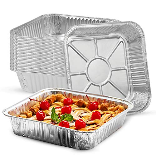 Heavy Duty 8×8 Disposable Baking Pans (25 Pack), Aluminum Foil Pans for Baking, Roasting, Storing and Reheating- 8 Inch x 8 Inch x 1.5 Inch