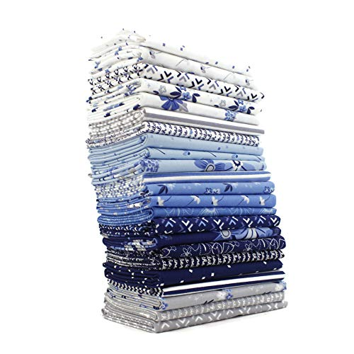 Blue Stitch Fat Eighth Bundle (23 Pieces) by Christopher Thomas for Riley Blake 9 x 21 inches (22.86 cm x 53.34 cm) Fabric cuts DIY Quilt Fabric